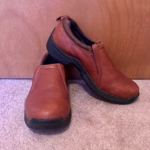 Justin brown leather slip on shoes size 9